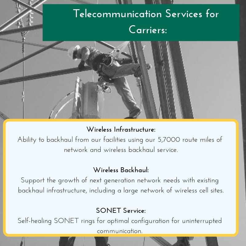Get larger volumes of data transfer with SCE Carrier Solutions' telecommunication services